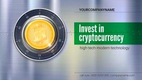 Cartaz para serviços de operação bancária Fechamento seguro com a moeda cripto da moeda do bitcoin com superfície de metal com te Fotografia de Stock Royalty Free