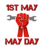 cartaz perfeito para o primeiro de maio com punho ilustração stock