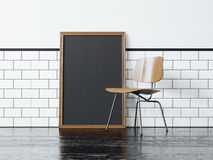 Cartaz preto e a cadeira rendição 3d Imagem de Stock