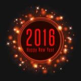 Cartaz 2016, quadro do texto do ano novo feliz da luz mágica do brilho, cartão do feriado do modelo Imagens de Stock