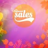 Cartaz realístico da tipografia das folhas da venda do outono Fotografia de Stock Royalty Free