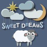 Cartaz recém-nascido dos bebês dos sonhos doces ilustração stock