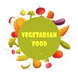 Cartaz redondo da composição dos vegetais do alimento do vegetariano ilustração royalty free