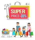 Cartaz relativo à promoção da venda super do preço com família ilustração stock