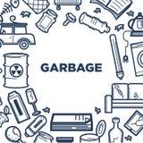 Cartaz relativo à promoção do lixo com quadro do lixo inútil ilustração royalty free