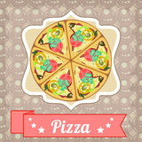Cartaz retro com pizza e a fita reta Foto de Stock Royalty Free