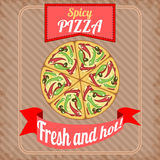Cartaz retro com pizza picante Imagens de Stock Royalty Free