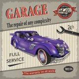 Cartaz retro da garagem do vintage ilustração stock