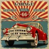 Cartaz retro da garagem do vintage ilustração do vetor