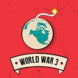 Cartaz retro da guerra mundial 3 no fundo velho Fotografia de Stock