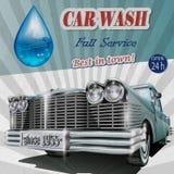 Cartaz retro da lavagem de carros Fotos de Stock