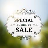 Cartaz retro da venda especial do verão Imagens de Stock Royalty Free