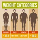 Cartaz retro do índice de massa corporal. ilustração stock