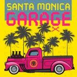 Cartaz retro do camionete com texto Santa Monica Garage ilustração royalty free