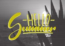 Cartaz retro do conceito do curso Olá! verão - rotulação escrita à mão, citações das férias de verão imagens de stock royalty free