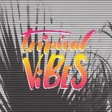 Cartaz retro do conceito do curso Vibrações tropicais - rotulação escrita à mão, citações das férias de verão fotos de stock royalty free
