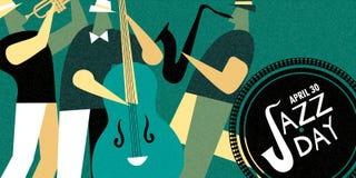Cartaz retro do dia internacional do jazz da faixa da música ao vivo ilustração stock