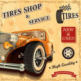 Cartaz retro do serviço do pneu ilustração stock
