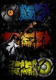 Cartaz retro do vetor com guitarra Fotos de Stock