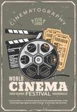 Cartaz retro, filme e bilhetes do festival do cinema ilustração royalty free