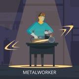 Cartaz retro liso do processo de produção do metalúrgico ilustração stock