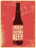 Cartaz retro tipográfico da cerveja do grunge Ilustração do vetor Foto de Stock Royalty Free