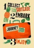Cartaz retro tipográfico do curso do grunge Mala de viagem velha do projeto do vintage com etiquetas Ilustração do vetor Fotografia de Stock
