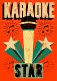Cartaz retro tipográfico do karaoke do grunge Ilustração do vetor Fotos de Stock