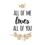 Cartaz romântico da tipografia sobre o amor Citações do vetor Rosas do ouro ilustração stock