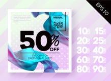 Cartaz romântico da venda da mola com polca Dot Lavender Background e seda do voo Imagem de Stock
