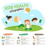 Cartaz saudável de Inforgrahic da ioga do estilo de vida das crianças Foto de Stock
