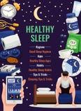 Cartaz saudável do sono ilustração do vetor