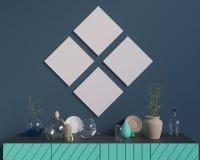 Cartaz sobre o armário com utensílios, minimalismo, interior, fundo, rendição 3D Fotografia de Stock Royalty Free