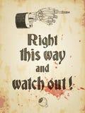 Cartaz sujo de Dia das Bruxas com mão de esqueleto e o globo ocular ensanguentado, vintage denominado Vector a ilustração, EPS10 Imagens de Stock Royalty Free