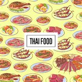 Cartaz tailandês do alimento com os pratos asiáticos da culinária Imagens de Stock