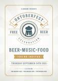 Cartaz tipográfico do festival da cerveja de Oktoberfest Fotos de Stock Royalty Free