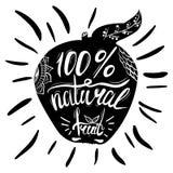 Cartaz tipográfico criativo ou um selo na silhueta preta de Apple com o ornamento isolado no fundo branco Fotos de Stock