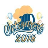 Cartaz tirado mão da rotulação da tipografia de Oktoberfest fotos de stock royalty free