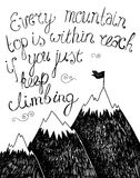 Cartaz tirado mão da tipografia Citações inspiradas ilustração stock