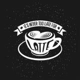 Cartaz tirado mão do café da tipografia É nunca ilustração do vetor