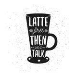 Cartaz tirado mão do café da tipografia ilustração stock