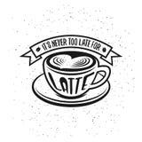 Cartaz tirado mão do café da tipografia ilustração do vetor