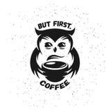 Cartaz tirado mão do café da tipografia Na moda bonito ilustração royalty free