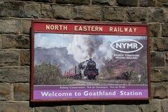 Cartaz tradicional para a estrada de ferro do nordeste fotos de stock royalty free
