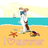 Cartaz tropical brilhante das férias de verão da praia ilustração stock