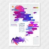 Cartaz universal criativo da arte abstrato no estilo futurista moderno com elementos da fauna marinha Cadernos, relatórios, broch Foto de Stock