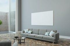 Cartaz vazio na parede cinzenta ilustração stock