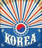 Cartaz velho do vintage de Coreia do Sul com cores coreanas da bandeira ilustração do vetor