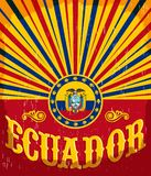 Cartaz velho do vintage de Equador com cores da bandeira do ecuadorian ilustração stock