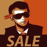 Cartaz vestindo da venda dos óculos de sol do homem Imagem de Stock Royalty Free